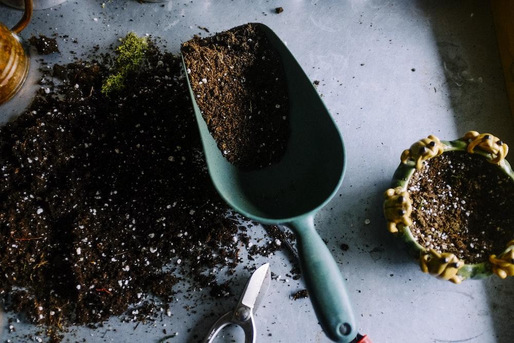 Giardiniere che utilizza i tipi di concime per prato più adatti alla semina e alla fertilizzazione